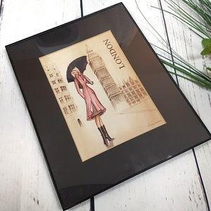 London Art Print Picture Girl & Rainy Big Ben